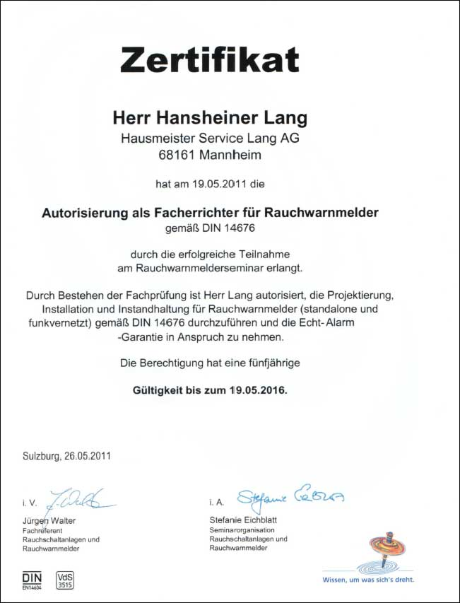Rauchmelder Zertifikat